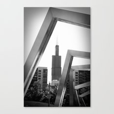 Sears Tower Sculpture Chicago Illinois Black and White Photo Canvas Print