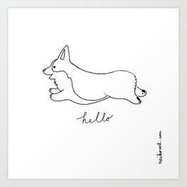 Pembroke Welsh Corgi - Hello Art Print