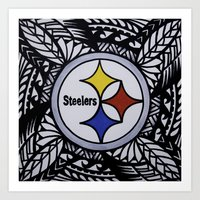 steelers Art Prints featuring Steelers Poly Style by Lonica Photography & Poly Designs