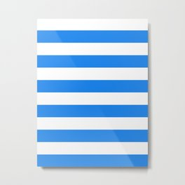 Horizontal Stripes - White and Dodger Blue Metal Print