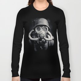 German Solider in a Gas Mask from World War II Long Sleeve T-shirt