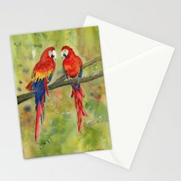 Scarlet Macaw Parrots Stationery Cards