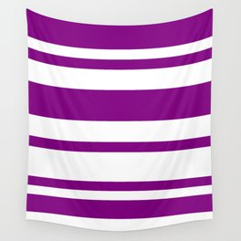 Mixed Horizontal Stripes - White and Purple Violet Wall Tapestry
