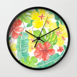 Tropical garden, hibisus, plumeria and palm leaves Wall Clock