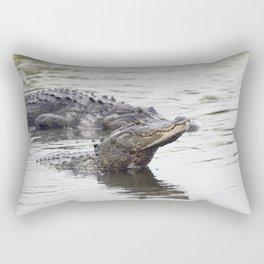 Two large alligators in Florida lake Rectangular Pillow