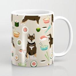 shiba inu sushi black and tan dog breed pet pattern dog mom Coffee Mug