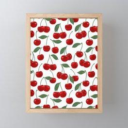 red cherry pattern Framed Mini Art Print