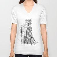 thranduil V-neck T-shirts featuring Thranduil, King of Mirkwood by Lydia Joy Palmer