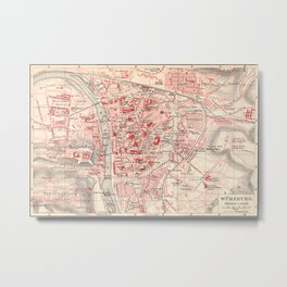 Vintage Map of Wurzburg Germany (1905)  Metal Print
