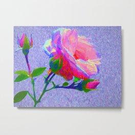 New Dawn Climbing Rose Painterly Metal Print
