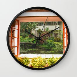 Asian Lily Pond and Bridge Wall Clock