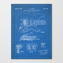 Guitar Tremelo Patent - Guitarist Art - Blueprint Canvas Print