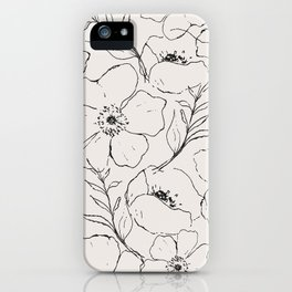 Floral Simplicity - Neutral Black iPhone Case