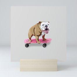 Skateboarding Bulldog Mini Art Print