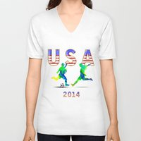 usa V-neck T-shirts featuring USA by Robin Curtiss