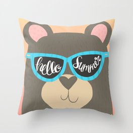 Hello Summer Bear Throw Pillow