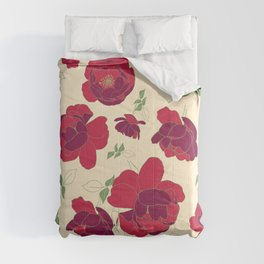 English Roses in Red and Cream Comforters