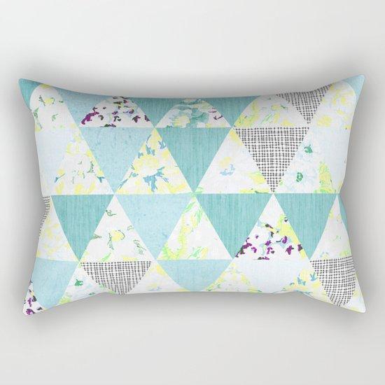 PASTEL NEON GEO FLORALS IN MINT Rectangular Pillow