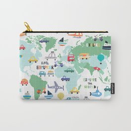 Travel The World Trains Planes Cars Trucks Map Carry-All Pouch