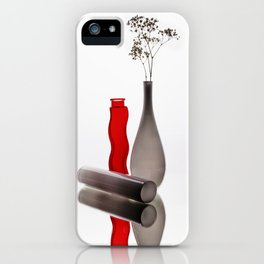 Modern still life with red and white glass vases iPhone Case