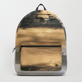 Golden Black Lines Painting Backpack