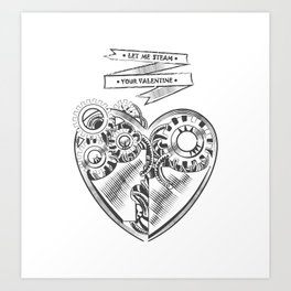 Valentines day steampunk card  Art Print