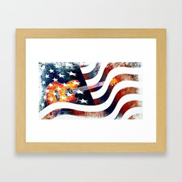 Country Music Guitar And American Flag By Annie Zeno  Framed Art Print