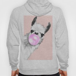 Bubble Gum Black and White Sneaky Llama in Pink Hoody