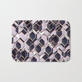 blue grey purple black and white abstract geometric pattern Bath Mat