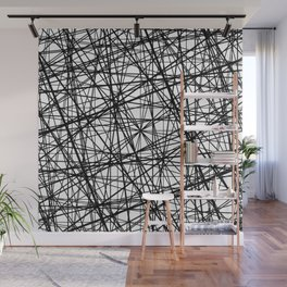 Geometric Collision - Abstract black and white Wall Mural
