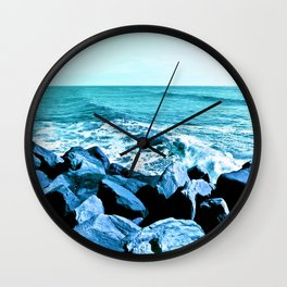 South Jetty Rocks, Sunset Beach, PacificOcean, Oregon Coast Wall Clock