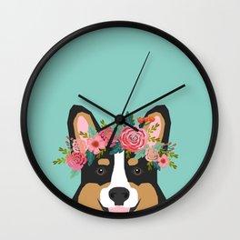 Tri Corgi Portrait - dog with flower crown cute corgi dog Wall Clock
