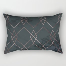 Modern Deco Rose Gold and Marble Geometric Dark Rectangular Pillow