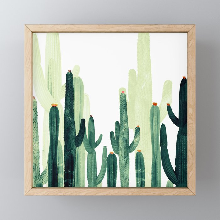 Green Cactus Framed Mini Art Print