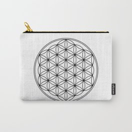 Flower of life in black, sacred geometry Carry-All Pouch