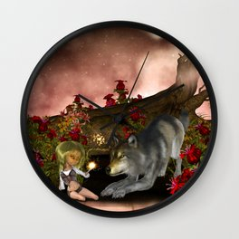 Wonderful wolf with little fairy in the night Wall Clock