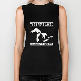 Great Lakes Shark Free and Unsalted T-Shirt Vintage Tee Biker Tank