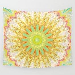 Pastel Yellow Pink Mandala Design Wall Tapestry