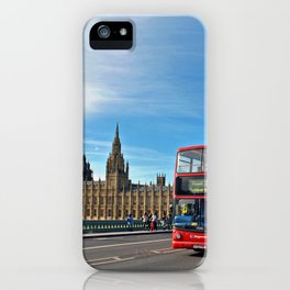 Red Bus Westminster Bridge Houses of Parliament iPhone Case