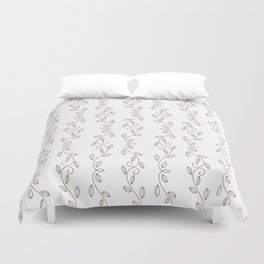 Simple black white hand drawn floral pattern Duvet Cover