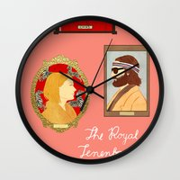 the royal tenenbaums Wall Clocks featuring The Royal Tenenbaums by Anna Valle