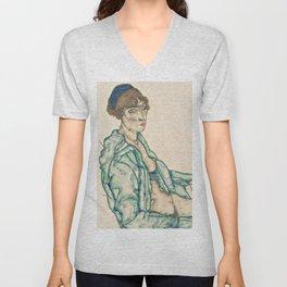 """Egon Schiele """"Sitting Semi-Nude with Blue Hairband"""" Unisex V-Neck"""
