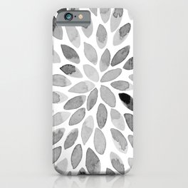 Watercolor brush strokes - black and white iPhone Case