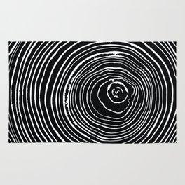 Growth Rings // White on Black Rug
