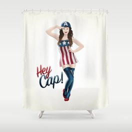 Hey Cap! Pin Up Girl Shower Curtain