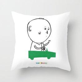 A man in a car Throw Pillow