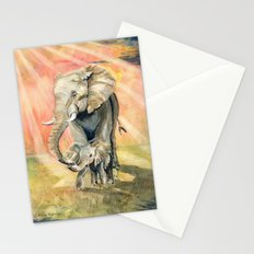 Mom and Baby Elephant Stationery Cards