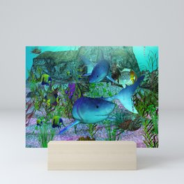 Exploration 3D Aquarium SHARKS Mini Art Print