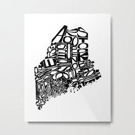 Typographic Maine Metal Print
