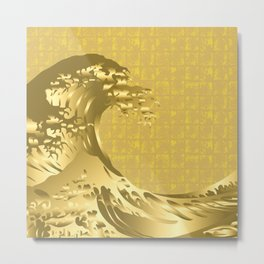 Gold Hokusai Great Wave on the Gold-leaf Screen Metal Print